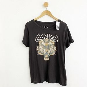 Chaser NWT Women's Tiger 'Love' Brown T-shirt